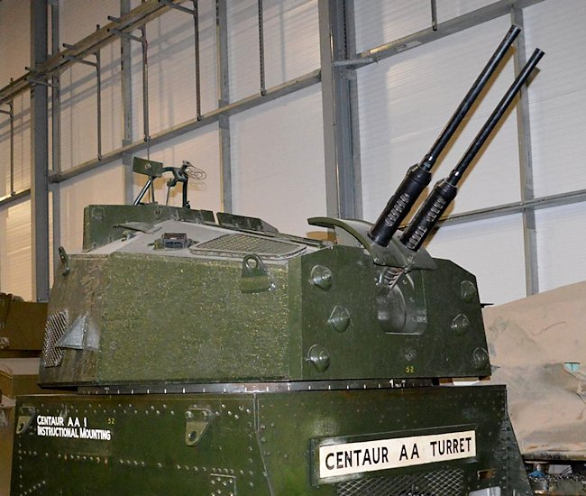 Centaur AA 1 turret on top of an Instructional Mounting. used for tank crew training. It is now kept at the Tank Museum Bovington