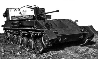 A ZSU-37 with its gun down at lowest elevation.
