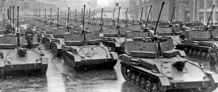 A large column of ZSU-37s on parade.