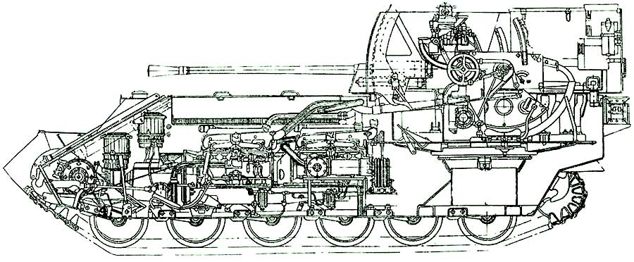 A technical drawing of the ZSU-37