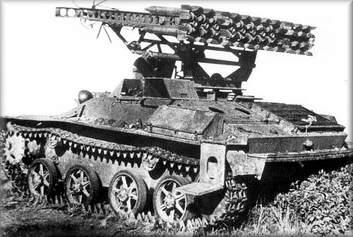 A BM-8-24 system mounted on a T-60.