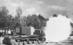 A KV-2 with a 107 mm gun. The KV-2 was similar to some superheavy tank projects the gun was intended for use with