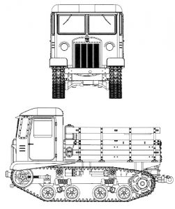 A technical drawing of an STZ-5 tractor