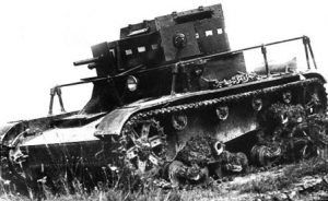 A T-26 'Model 1932' with a 37 mm gun (left turret) and a DT machine gun (right turret). The NI fitted turrets from wrecked T-26 Model 1931 tanks, but there are only photographs of the NI with the DT T-26 Model 1931 turret.