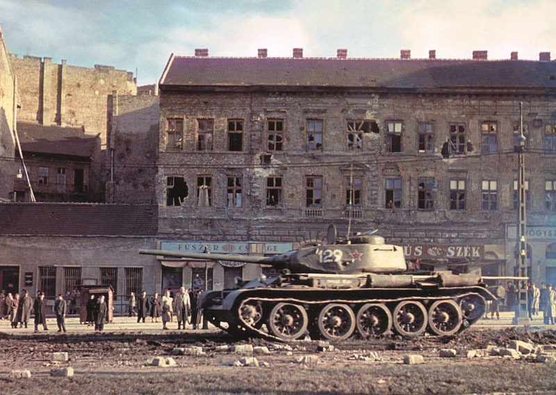 A supposed photo of an abandoned T-44 in Budapest, Hungary, 1956. There are two other purported photographs, but they are in black and white. Some skeptics have called all of these photographs fakes