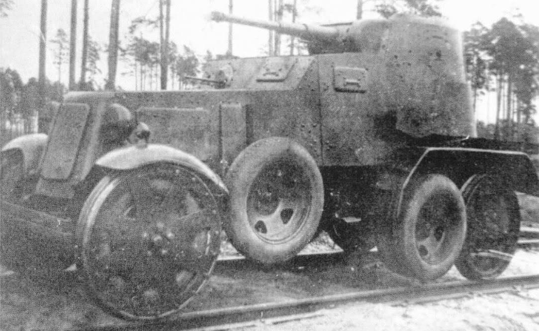 A BA-10 ZhD - notice how the wheels fit onto the rail tracks