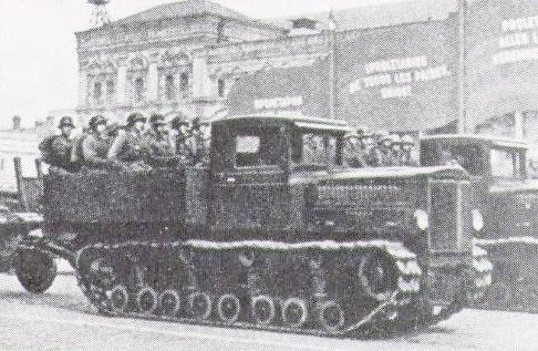 A Komintern tractor on parade