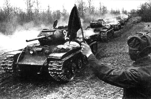 A column of KV-1S tanks.
