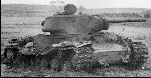 A knocked out KV-1S. The armor was far too inadequate during the mid-war, as it often faced upgraded Panzer IVs, or worse.