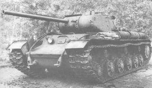 The KV-85G prototype. It is distinguishable as it has a hull DT visible and no enlarged commander's viewport, as seen on the IS-85 turret