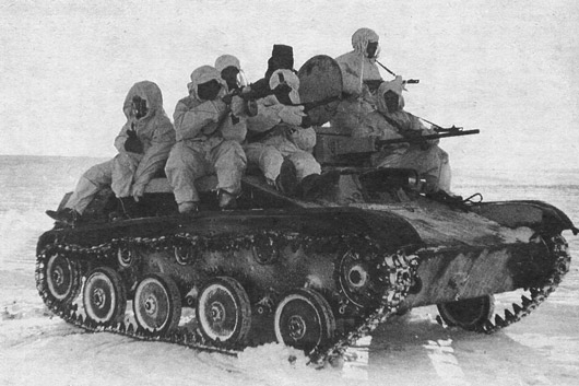 A T-60 being ridden into battle. Tank riding was a crucial part of the Soviet deep battle tactic