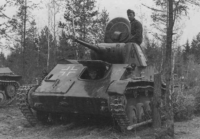 A T-70 in German service. Wehrmacht use of captured tanks was very common.