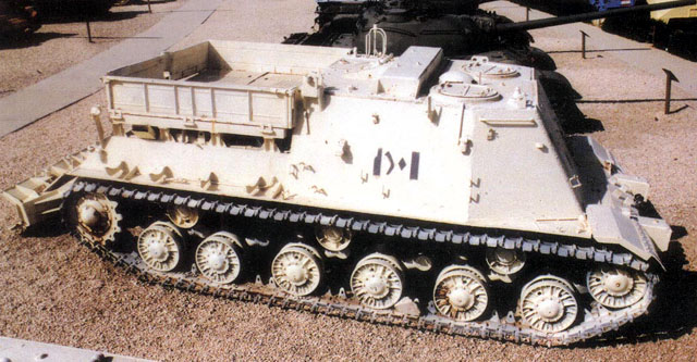 A captured Egyptian BTT-1 armored recovery vehicle at Yad la-Shiryon museum, Israel