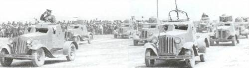 Some D-12s on parade in Mongolia, autumn, 1945