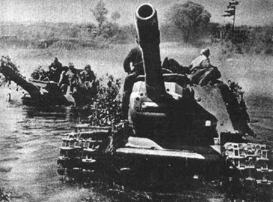 A very dramatic photo of a pair of ISU-152s fording a river