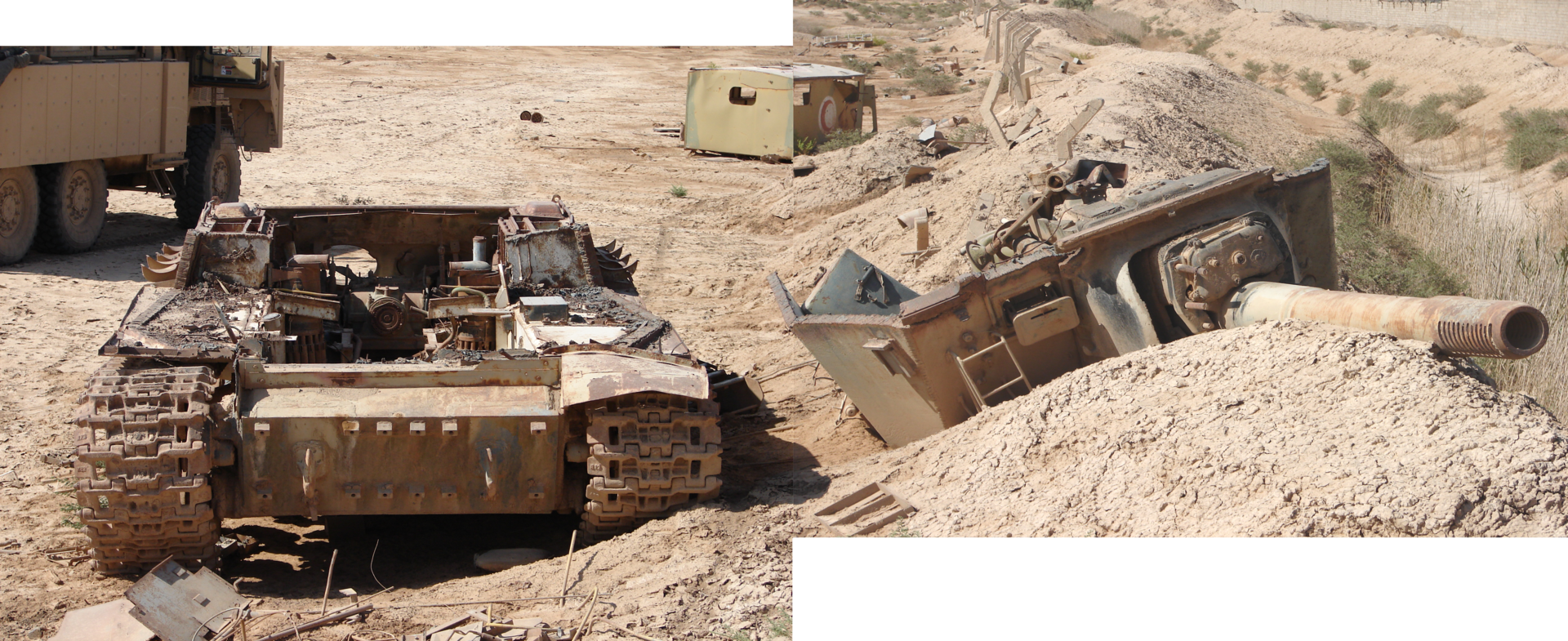 This Iraqi ISU-152 was knocked out near Camp Fallujah by a coalition airstrike. The fighting compartment was blown off!
