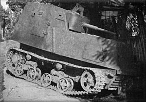 An intact KhTZ-16 is stuck in the side of a fence. Despite being produced in small numbers, there are a remarkable number of photos of this tank, when compared to its other improvised cousins