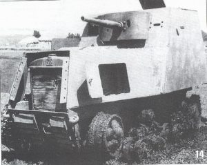 A KhTZ-16 missing some armor plates and a track, having been knocked out. In this image, the STZ-3 tractor it is based on can be seen clearly, as well as the personal weapons port on the left of the gun