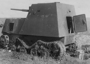 This knocked out KhTZ-16 appears to have been bogged down before being knocked out, hence the large amount of grass on the tracks.