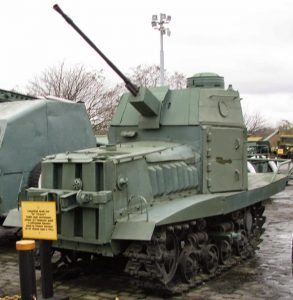 A reproduction NI tank with a ShVAK cannon on display - despite being labelled as an NI, it is often presented as a KhTZ-16