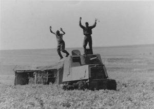 A KhTZ-16's crew surrender in a rural area near Kharkov