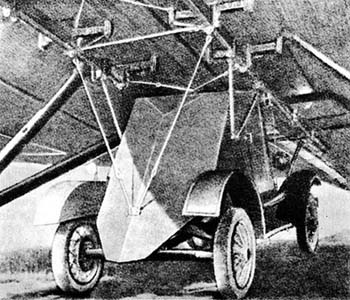The rear of a D-8 strapped to a TB-3 bomber during parachute drills at the Dnieper, near Kiev, circa 1935