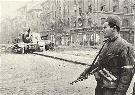 Hungarian partisan stands guard near a knocked out ISU-152, 1956.