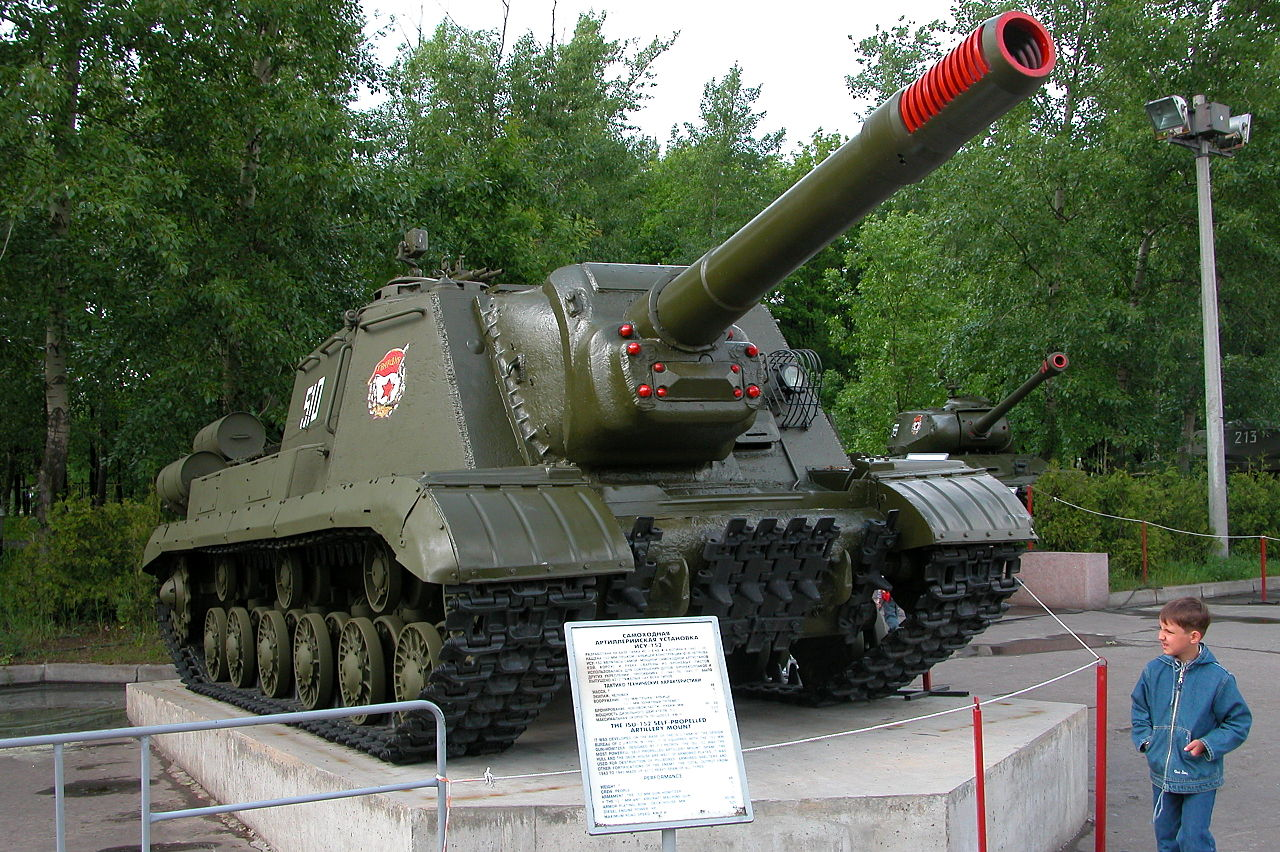 A preserved Guards ISU-152K at Victory Park, Moscow, Russia.