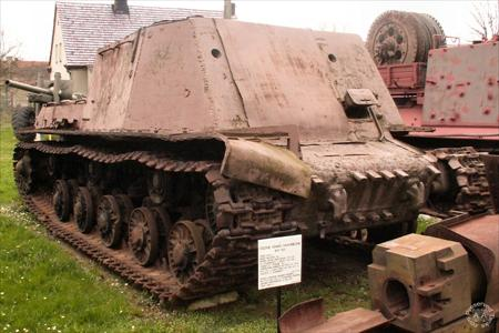An ISU-T armored recovery vehicle preserved in Poland