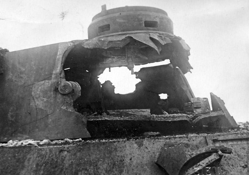 The result of an ISU-152 shell hitting a Panther's turret. Instead of being knocked off, the turret was blown wide open!