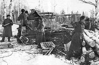 Another ZiS-30 being operated by its crew, possibly during an ambush attack.