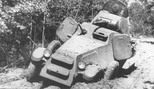 A BA-11D being tested on rough terrain at NIIBT testing grounds, Kubinka, 1939
