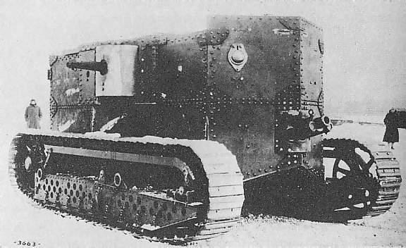 A front view of the Holt gas-electric tank, clearly showing the position of the gun and the side-sponsoon - Source: Public Domain, as taken from Wikimedia Commons