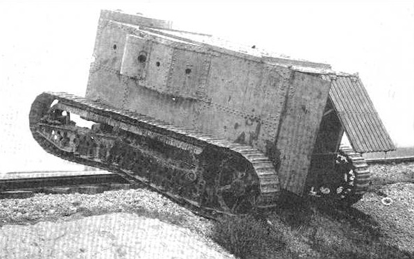 The prototype undergoing trials, going over a small hill - Source: Public Domain, as taken from Landships.info