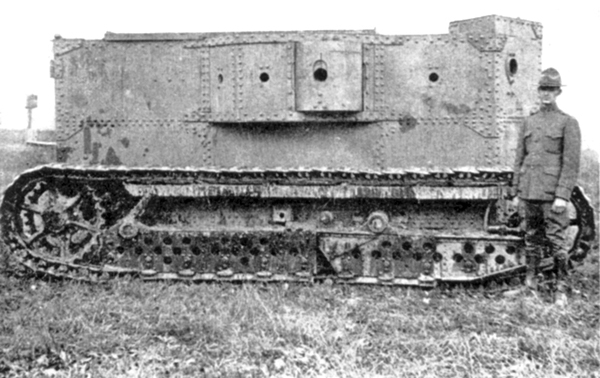Side profile of the Holt gas-electric tank - Source: Public Domain, as taken from Landships.info
