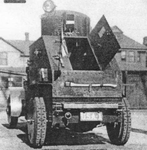 A rear view of the White model 1917 with the crew door open - Photo: Armored Car, A History of American Wheeled Combat Vehicles by R.P.Hunnicutt
