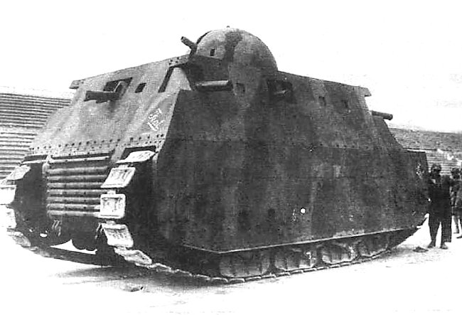 The rear of the Fiat 2000 tank was as heavily armed as the front of the tank