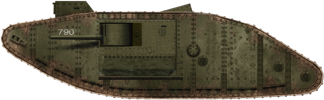 Mark II tank No.790 was stuck in a captured German gun pit at Arras