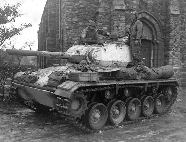M24 Chaffee light tanks were first used in the Battle of the Bulge in the snowy Ardennes forests in December 1944
