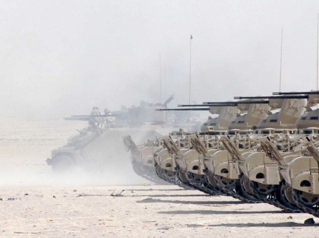 Bahraini M113 C&Vs on a shooting range during Peninsula Shield 9