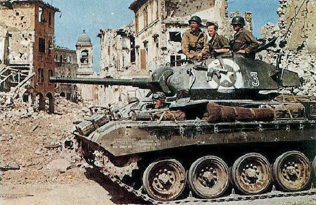 M24 Chaffee light tank of the US Army 1st Armored Division in Bologna, Italy, late Apr 1945