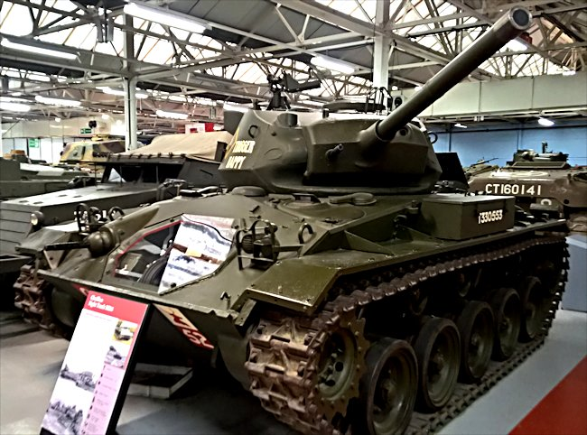 This preserved M24 Chaffee Light Tank can be found at the Tank Museum, Bovington, Dorset in Southern England