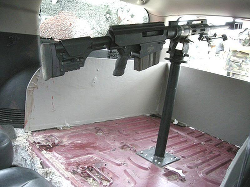 sniper in truck riveted to floor