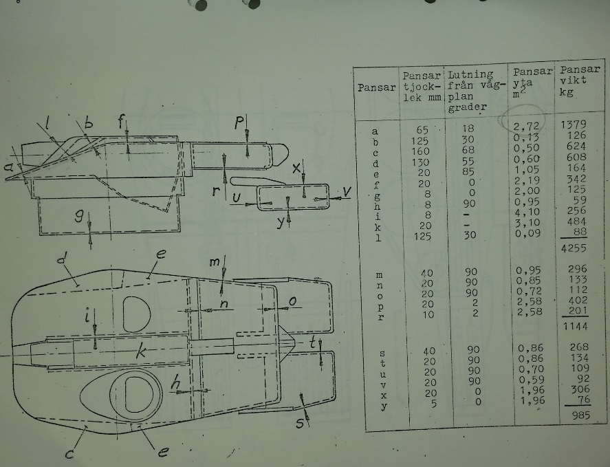 The turret drawing can be for either the UDES 15/16 or the UDES 15/16 TR as they only differ in the chassis used. The second column in the table beside the turret shows the armor thickness at different points of the turret.
