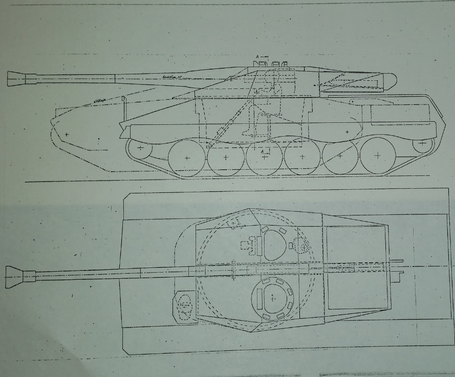 Technical drawing of UDES 15/16 TR. Note the differences in chassis and turret placement from the UDES 15/16, as well as the lack of rear mounted ammunition bins.