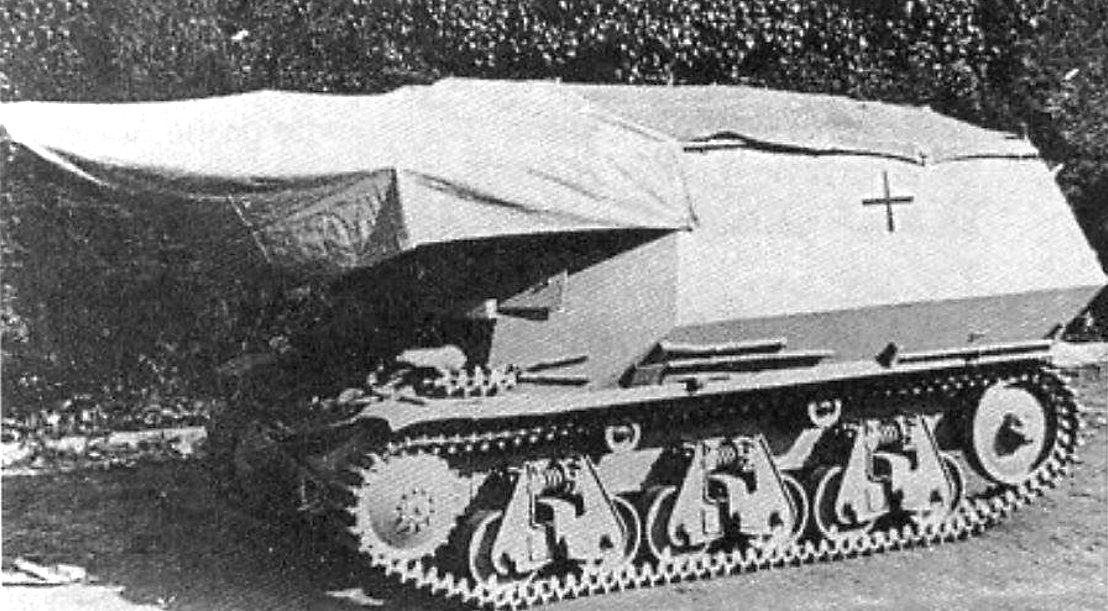 The 10.5cm leFH 18 (Sf.) auf Geschutzwagen 39H(f) self-propelled gun could be fitted with a rain cover