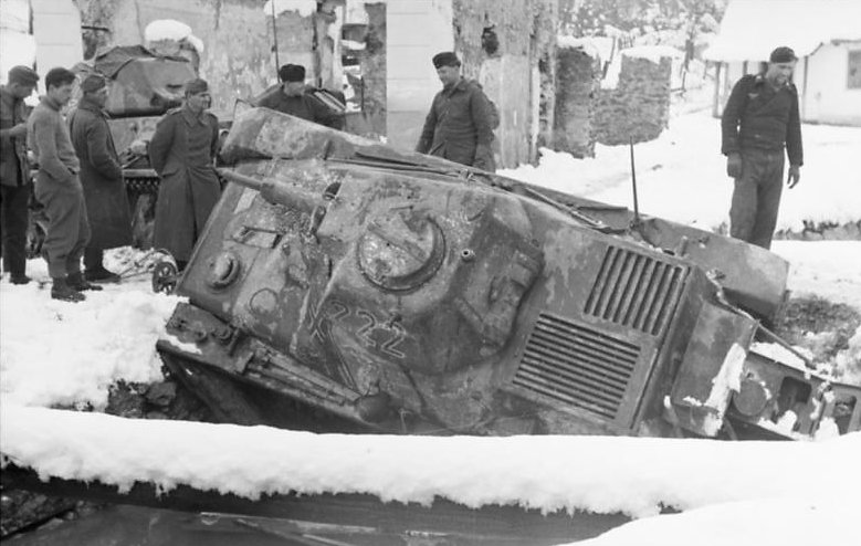 German Hotchkiss H39 stuck in a ditch, Yugoslavia