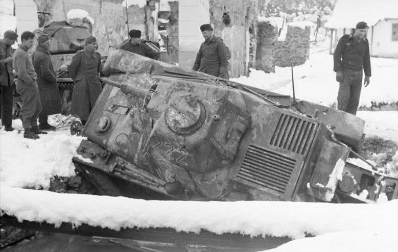 German Hotchkiss H39 stuck in a ditch, Yugoslavia