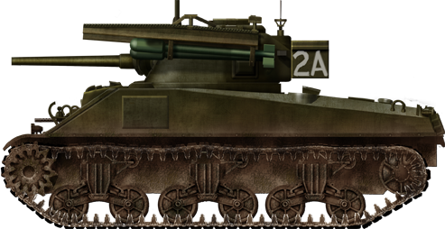 Sherman Mk.V (M4A4) Tulip tank 2A,No.2 Troop,No.2 Squadron, 1st Armoured Battalion, Coldstream Guards, 5th Guards Armoured Brigade, Guards Armoured Division fitted with four rocket rails, the Netherlands, March 1945