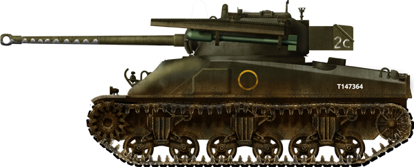 Sherman Firefly Mk.Ic Hybrid Tulip tank 2C, No.2 Troop, No.2 Squadron, 1st Armoured Battalion, Coldstream Guards, 5th Guards Armoured Brigade, Guards Armoured Division, the Netherlands, March 1945